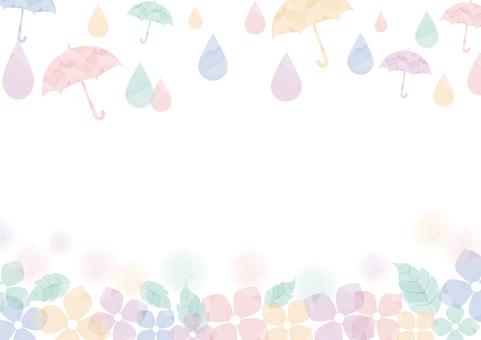 Watercolor style hydrangea and umbrella