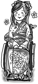 Wheelchair kimono black and white