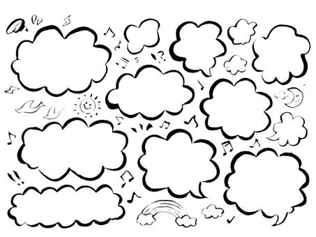 [Brush painting] Handwritten mushroom speech bubble