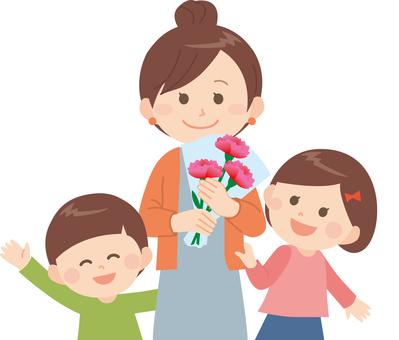 母親節(母親和女兒和兒子)