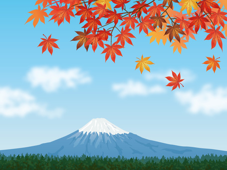 Mt. Fuji with autumn leaves maple and fresh blue sky background