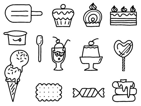 Graffiti-style sweets set black and white coloring only line