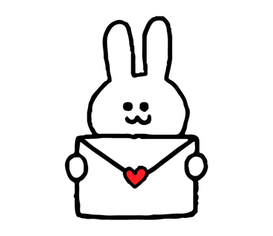Rabbit with love letter (animal simple)