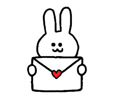 연애 편지를 가진 토끼 (동물 심플)