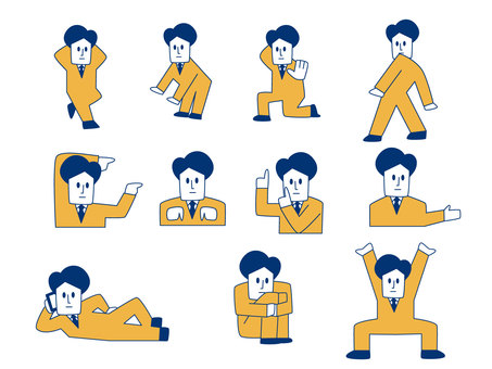 Businessman pose illustration set