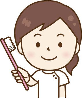 A woman nurse with a toothbrush