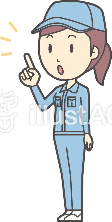 作業員女性ブルー-212-全身のイラスト