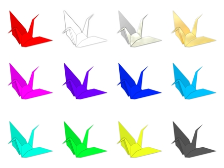 Folded crane 12 colors (2091)