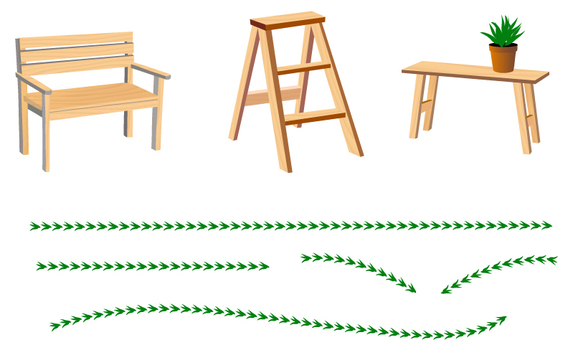 Line of wooden furniture and leaves