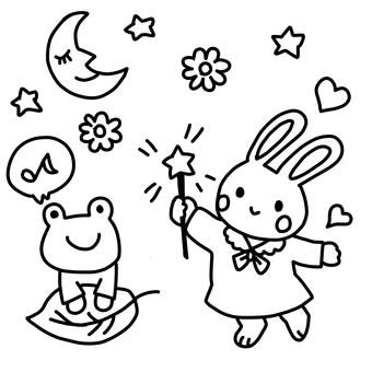 Rabbit and frog coloring book
