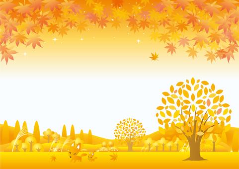 Autumn color landscape and fox parent and child