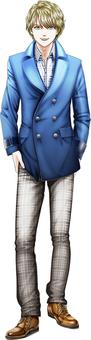 年輕男子穿著一件藍色的外套金發全身全身