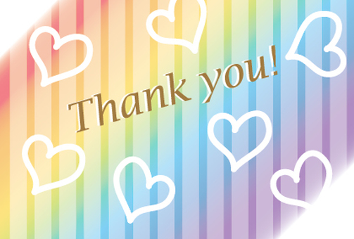 Rainbow color Thank you Thanks card