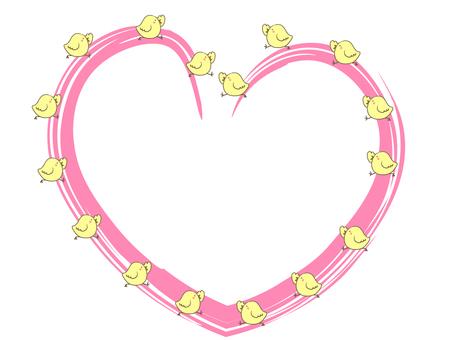 A frame where a chick walks on the heart
