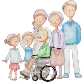 A family surrounding a wheelchair grandfather