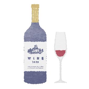 水彩風・ワインとワイングラス