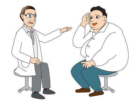 肥胖的男人接受醫生的指導