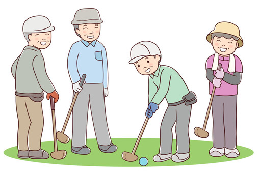 Seniors who play park golf 4 people
