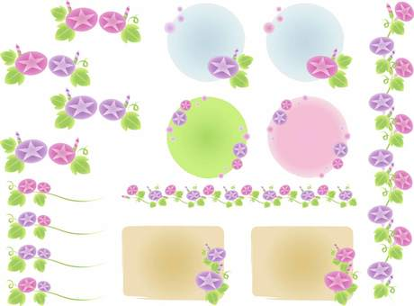 Watercolor-style morning glory illustration set