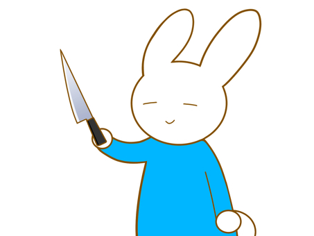 包丁を持つウサギ