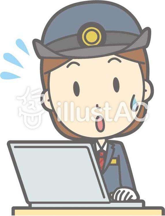 駅員女性a-PC焦る-バストのイラスト