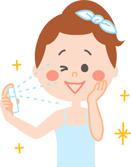 Female skin care using mist spray