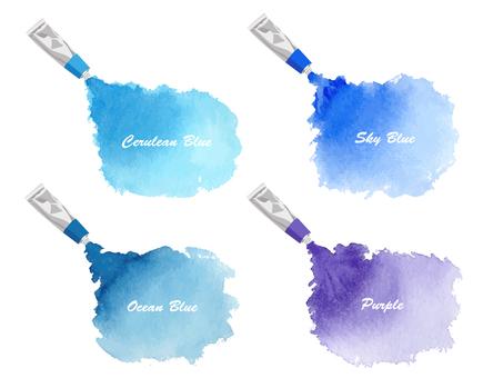 水彩藝術的氣球藍紫色