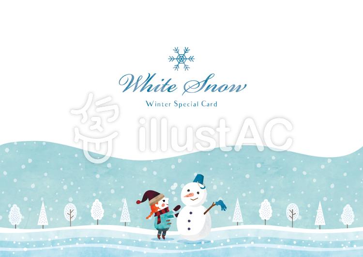 冬の背景フレーム040 雪だるま 水彩のイラスト