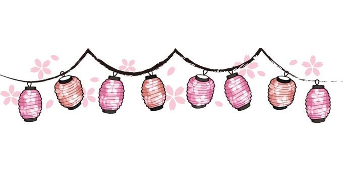 Lantern ornament (peach color · cherry tree)