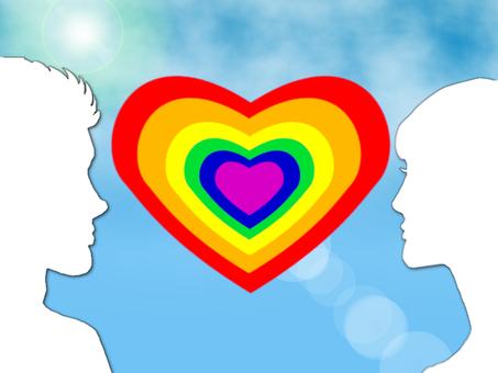 Heart rainbow men and women