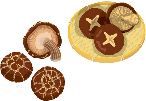 Shiitake mushrooms and dried shiitake mushrooms