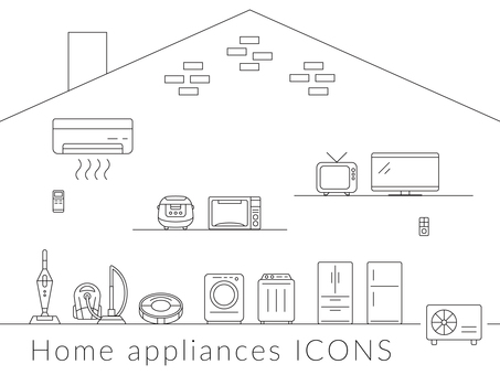 Icon set home appliance simple