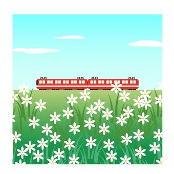 Train and flower garden