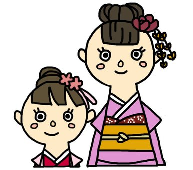 Shichigosan, a seven-year-old girl and a three-year old girl