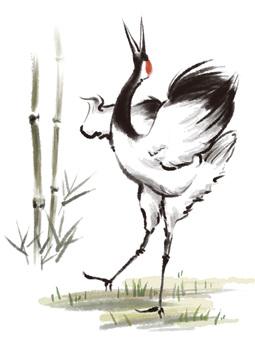 S_ ink painting _ crane