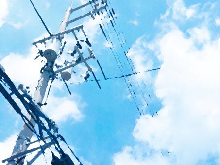 夏の青空と電柱のイラスト