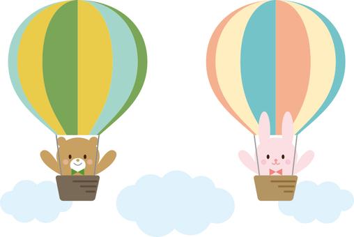 Bear and rabbit on balloon