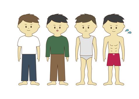 4 종의 옷을 입은 소년