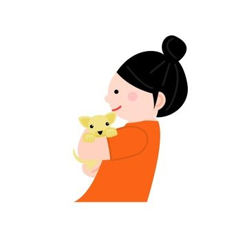 A woman holding a dog