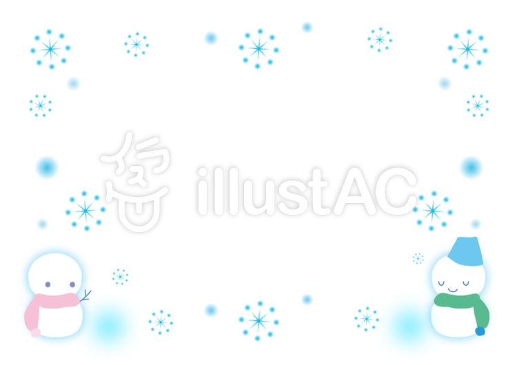 雪と雪だるまのフレーム飾り枠イラスト No 601704無料イラストなら