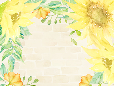 Watercolor hand-painted sunflowers and brick walls