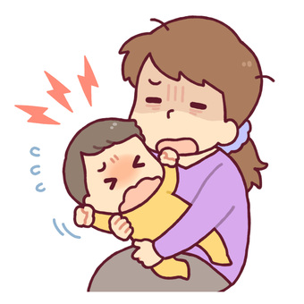 Baby crying and tired mother