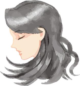 Profile of black hair woman