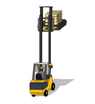 Fork lift, mast raising