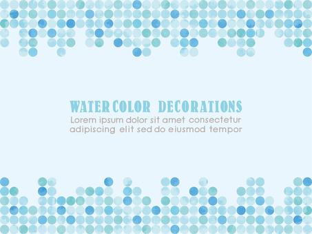 Watercolor touch dot pattern frame blue