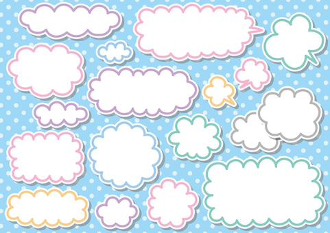 필기 구름과 풍선 소재 세트 02