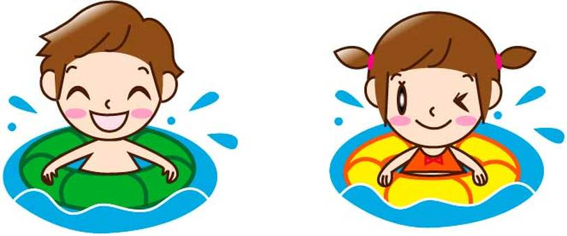 Two children (man and woman) who swim in a floating ring