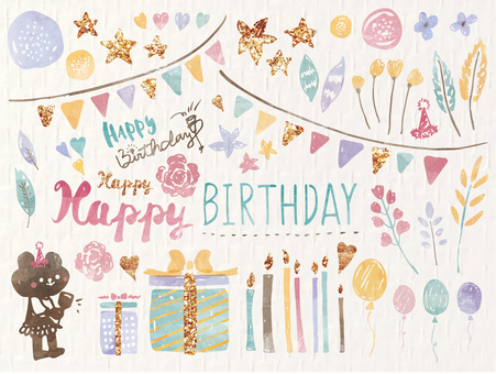 Fashionable Scandinavian birthday watercolor picture collection