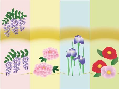 봄 꽃 일본식 디자인