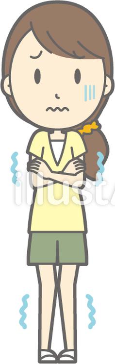 女性半ズボン-寒い-全身のイラスト